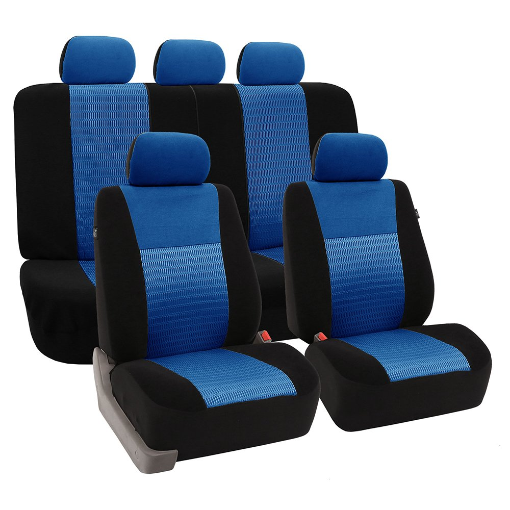 FH Group Universal Fit Full Set Trendy Elegance Car Seat Cover, (Blue/Black) (FH-FB060115, Airbag Compatible and Split Bench, Fit Most Car, Truck, SUV, or Van) by FH Group