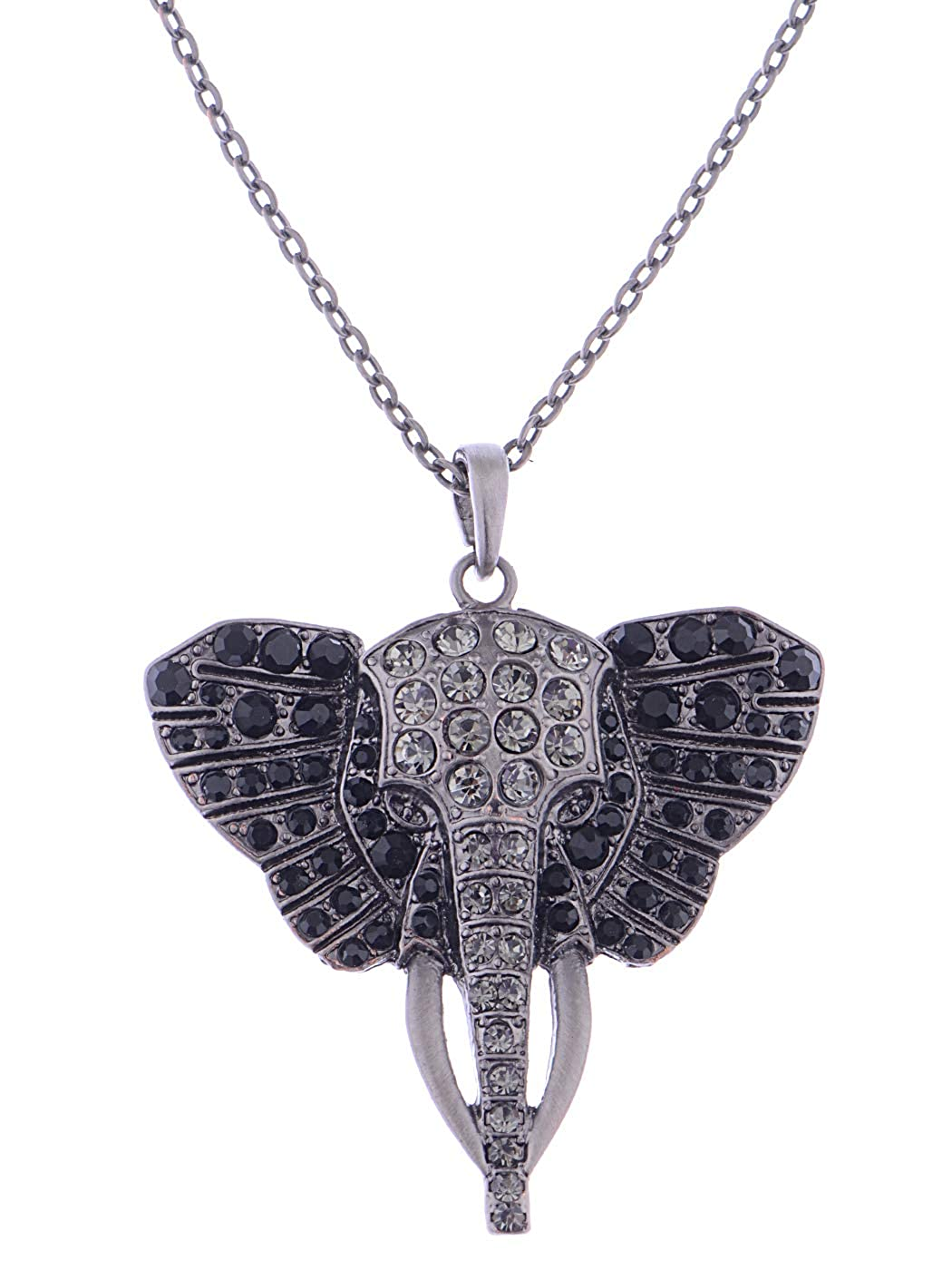 882d9ace05dcd Alilang Womens Antique Silvery Tone Black Rhinestones African Elephant Head  Pendant Necklace