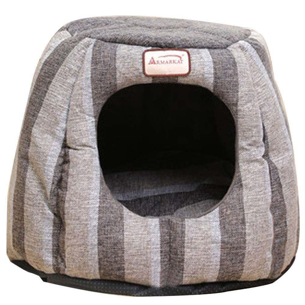 A HUIFANG Cat Litter Winter Warm Pet Cat Supplies Four Seasons Universal Deep Sleep Semi-enclosed Kennel Winter Warmth Deep Sleep (color   A)