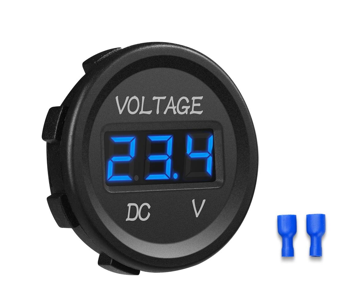 CyanHall DC 12V LED Digital Display Voltmeter Waterproof for Boat Marine Vehicle Motorcycle Truck ATV UTV Car Camper Caravan Round Panel Blue