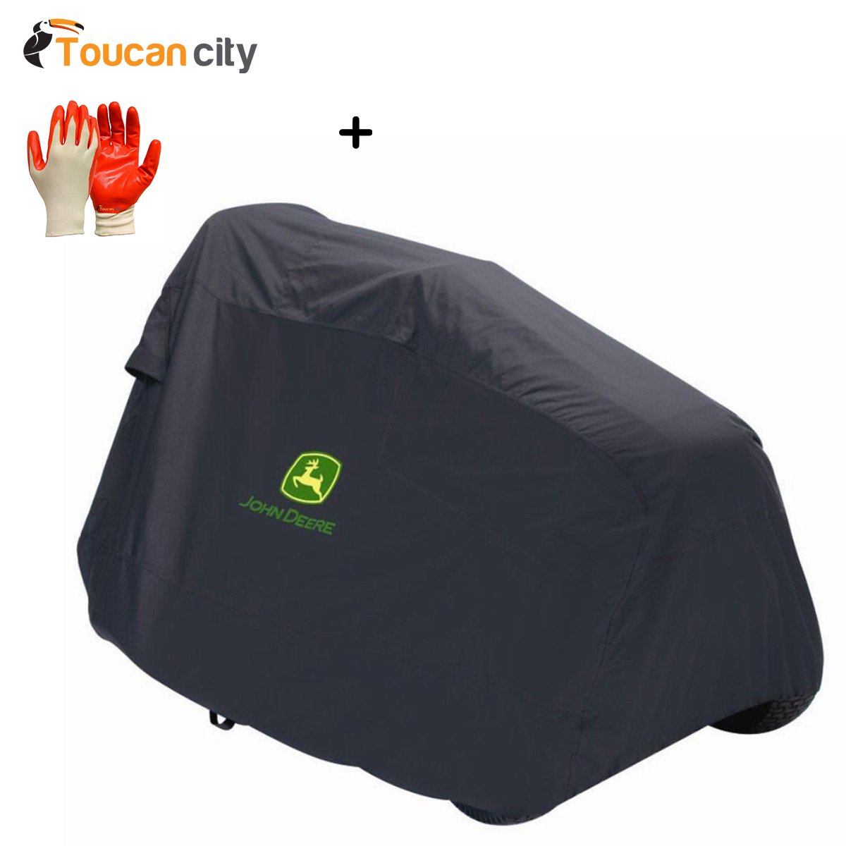Toucan City Nitrile Dip Gloves (5-Pack) and John Deere Deluxe Riding Mower Cover 93617-3PK