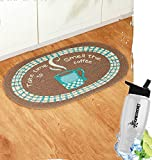 Gift Included- Cotton Braided Coffee Kitchen Floor Rug Oval + FREE Bonus Water Bottle by Home Cricket Homecricket