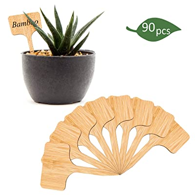 PAMASE 90 Pcs Bamboo Plant Labels- 6 x 10 cm Long-Lasting T-Type Wooden Plant Sign Tags Garden Markers for Seed Potted Herb Flowers Vegetables Fruit Plant Trees: Garden & Outdoor