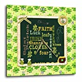 3dRose Beverly Turner St Patrick Day Design - Words, Faith, Luck, Blessed, Leaf, Irish, Shamrock, Saint Patrick - 10x10 Wall Clock (dpp_282043_1)
