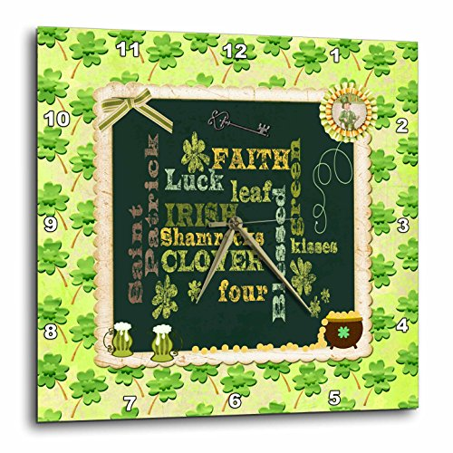 3dRose Beverly Turner St Patrick Day Design - Words, Faith, Luck, Blessed, Leaf, Irish, Shamrock, Saint Patrick - 10x10 Wall Clock (dpp_282043_1) by 3dRose