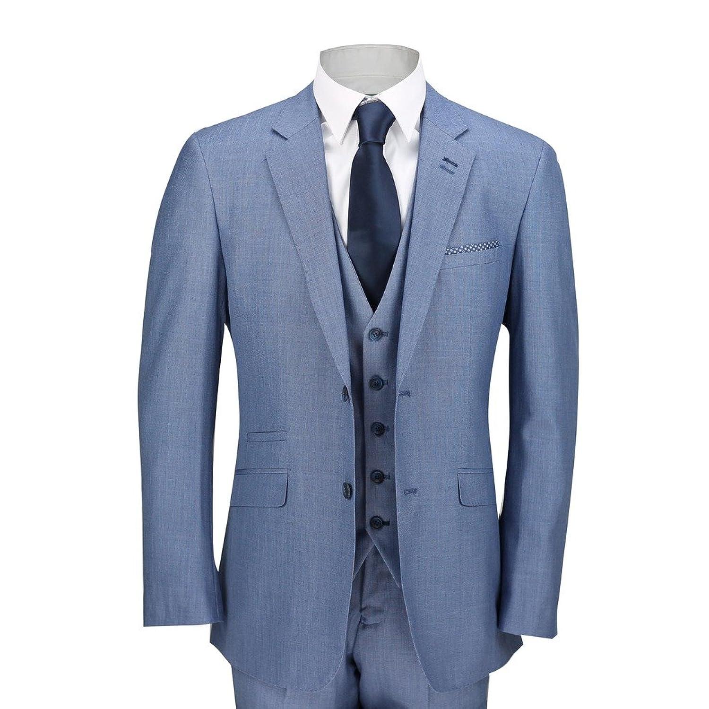Mens Sky Blue 3 Piece Suit Work Wedding Prom Party Blazer ...