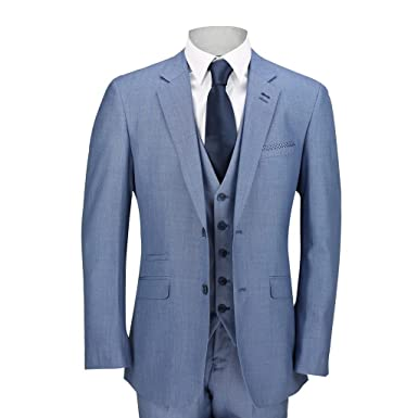 Traje azul para hombre de 3 piezas con chaleco, chaqueta y ...
