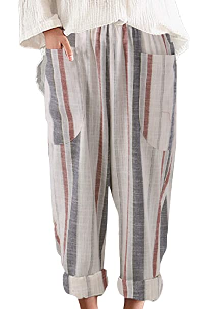 42467ecfb9f Sevozimda Womens Linen Pants Straight Leg Plus Size Stripes Loose Harem  Trousers Apricot S