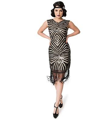 e0fbcbc0744 Image Unavailable. Image not available for. Color  Unique Vintage Black  Sequin   Beige Fringe Sandrine Flapper Dress