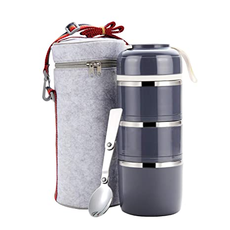 7b1a8f7f6fe6 WORTHBUY Bento Lunch Box Stackable Stainless Steel Thermal Bento Box Food  Storage Containers with Insulated Lunch Bag and Foldable Spoon for Adults  ...