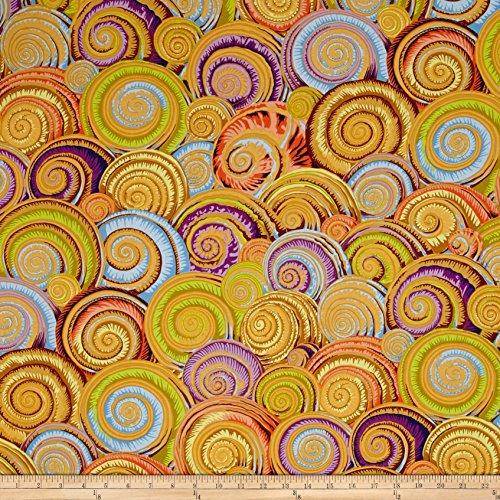 FreeSpirit Fabrics 0465193 Philip Jacobs Spiral Shells Gold Fabric by The Yard
