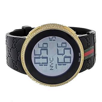 e32eeed08 Mens I Gucci Watch YA114207 Digital Rubber Band Real 4CT White Diamond:  Amazon.co.uk: Watches
