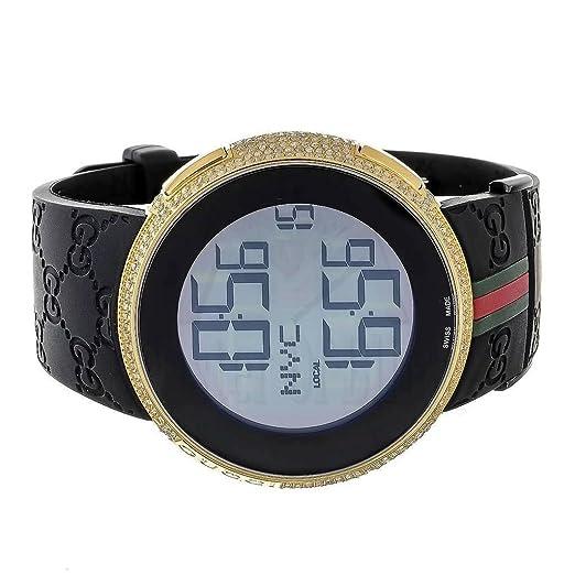 Reloj para hombre, I GUCCI YA114207 Digital de goma banda real 4 ct blanco diamante: Amazon.es: Relojes