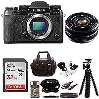 Fujifilm X-T2 Mirrorless Digital Camera (Body Only) w/18mmF2 R WR Lens + Focus 32gb Kit