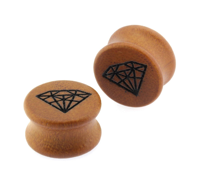 1//2 Double Flared Carved Organic Diamond Design Sawo Wood Ear Plugs Gauges
