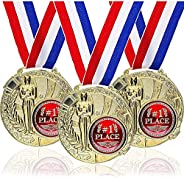 Juvale 6-Pack Bulk Olympic Style 1st Place Gold Award Winner Medals with Ribbons for Kids, Adults, and Sports,