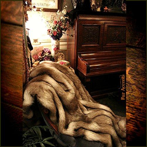 Fur Pelt (Premium Faux Fur - Brown Coyote Stripe - Wolf Skin Fur Pelt - Sheepskin Shag - Shaggy Throw Blanket- Accent Carpet -Kids Bedroom - (30''x36''))