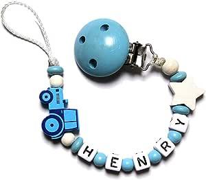 Baby Chupete con cadena de perlas de madera y nombre personalizado. Baby Azul con tractor y estrellas HENRY: Amazon.es: Bebé