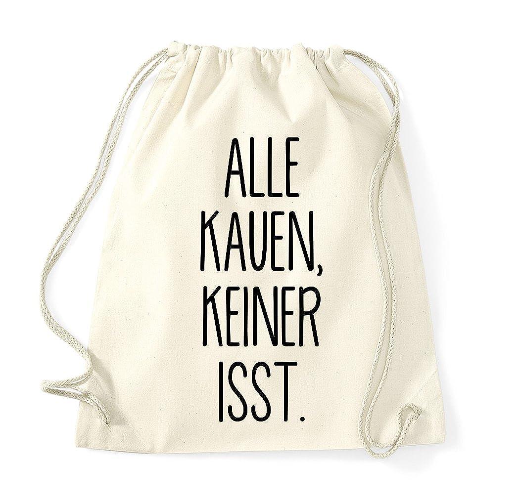 KEINER ISST//Beutel Rucksack Jutebeutel Sportbeutel Fashion Hipster TRVPPY Turnbeutel mit Spruch//Modell ALLE KAUEN