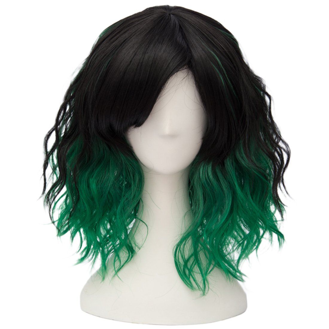 35cm Women Synthetic Ombre Wig Wavy Short Curly Hair Cosplay Anime Wig Free Cap