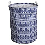 Clothes and toys organizer Waterproof hamper Foldable laundry basket for storage(Elephant,13.8x13.8x17.7In)