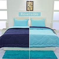 Aurome - Reversible, Microfiber, Double Bed Comforter, Soft, Plush, Warm (200 GSM Microfiber Filling) - Size 250 cm x 220 cm - (Blue, Double)