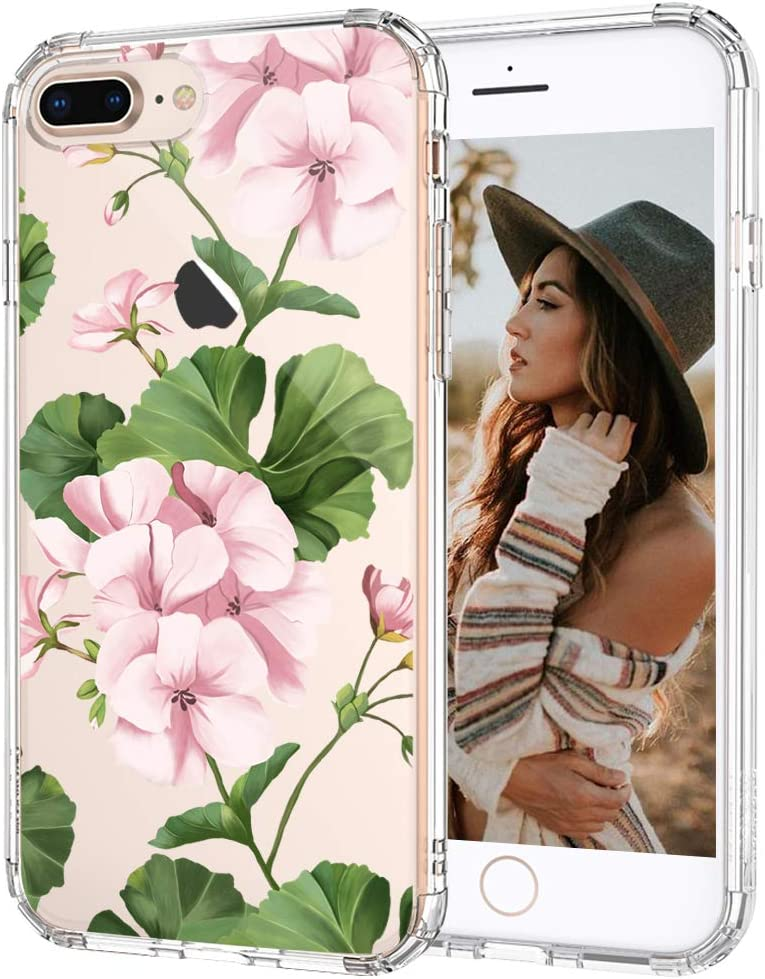 MOSNOVO White Geraniums Floral Flower Pattern Designed for iPhone 8 Plus Case/iPhone 7 Plus Case - Clear - Clear