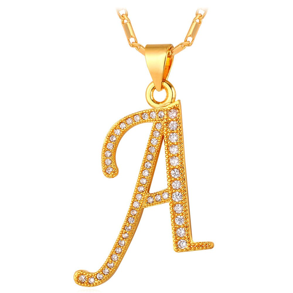 d6edf81f0b U7 Ice Out Letter Charm Cubic Zirconia Crystal Initial Pendant 18K Gold Platinum  Plated Chain A-Z Letter Necklace