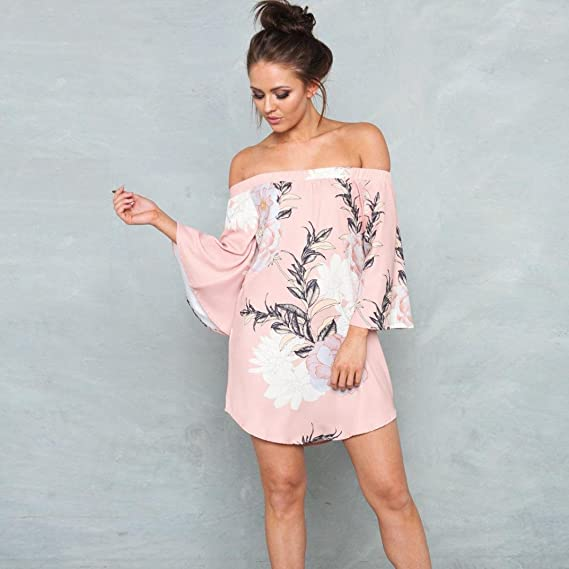 HODOD Womens Off Shoulder Printed Dress Cold Shoulder Boho Beach Mini Dresses at Amazon Womens Clothing store: