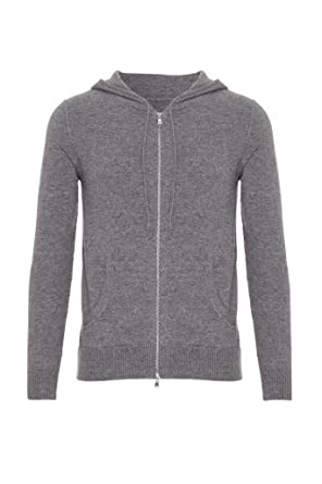 Mens Pure Cashmere Cardigan with Hood, Grey, X-Large: Amazon.co.uk ...