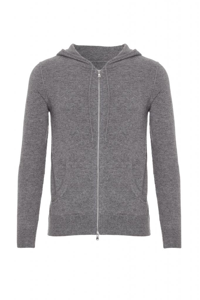 Scottish Wear Men's Pure Cashmere Cardigan With Hood Grey M