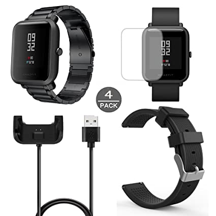 for Xiaomi Amazfit Bip Band, Lamshaw Stainless Steel Metal Replacement Straps + Amazfit Bip Charger + Silicone Bands + TPE Screen Protector (2 Pack) ...