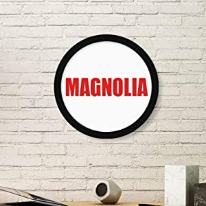 cold master DIY lab Magnolia Flower Red Plant Round Frame Art Painting Wooden Home Wall Decor