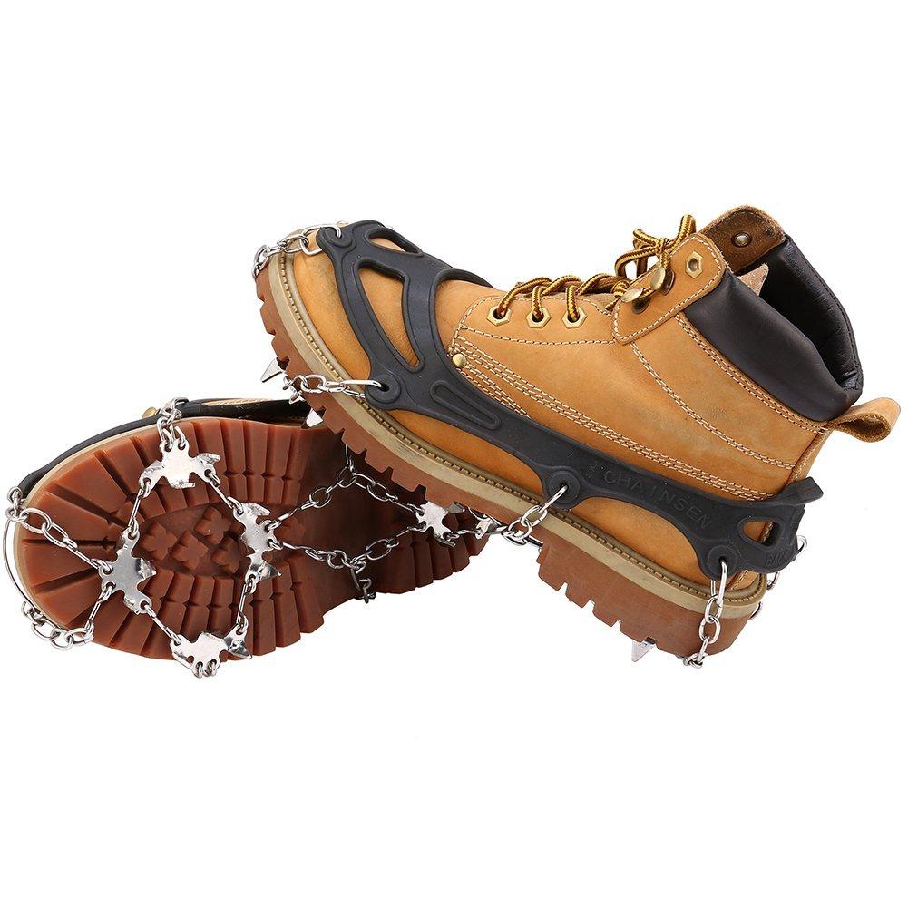 Terra Hiker Crampon à Neige Antidérapant Antiglisse pour Chaussures à 18 Dents pour Randonnée Trekking Marche Escalade