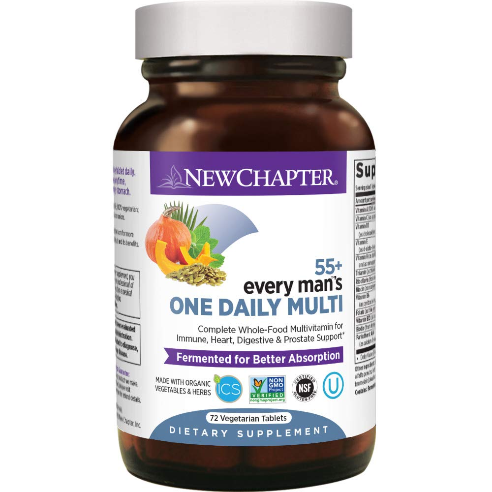 New Chapter Multivitamin for Men 50 Plus - Every Man's One Daily 55+ with Fermented Probiotics + Whole Foods + Astaxanthin + Organic Non-GMO Ingredients -72ct (Packaging May Vary)