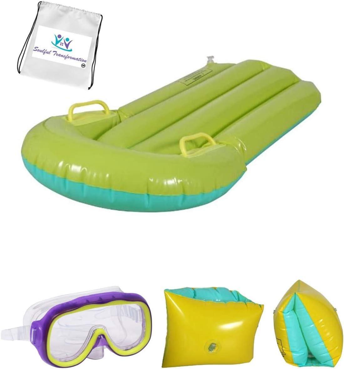 Bonus Exclusive ST Days of Fun Activity Book TM Kids Spring Summer Swim Backyard Outdoor Green Kickboard Arm Float /& Swim Mask Bundle of 3