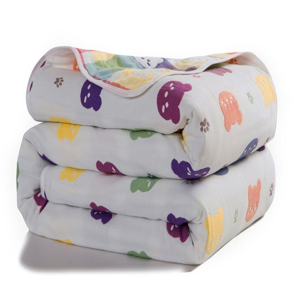 Joyreap 6 layers of 100% Muslin Cotton Summer Blanket - Soft Lightweight Summer Quilt for Teens & Kids - Hypoallergenic Durable and Comfortable Throw Blanket (Bear, 47''x 59'')