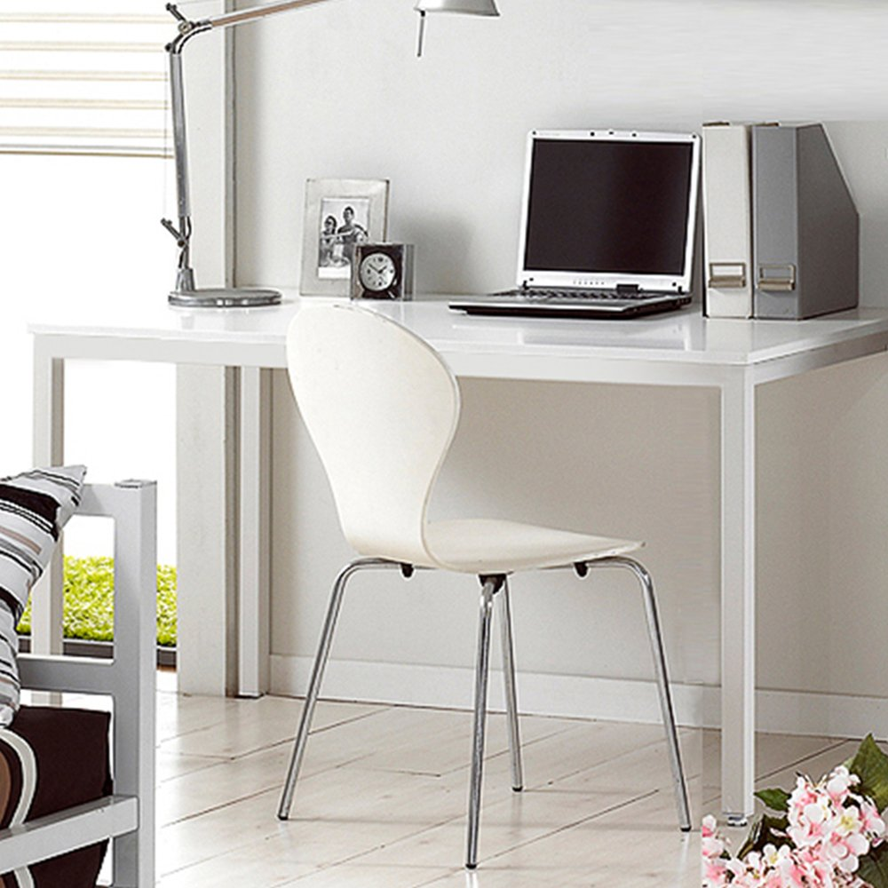 Dland 47'' Medium Computer Desk, Composite Wood Board, Decent & Steady Home Office Desk/ Workstation/ Table, BS1-120WW White & White Legs, 1 Pack by Dland (Image #7)