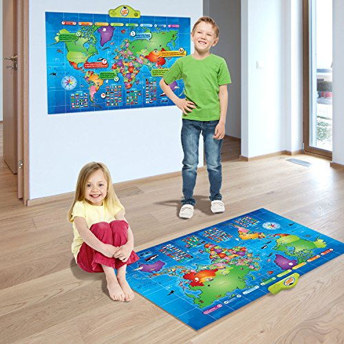 Kids Interactive Talking World Map Touch Activated Geography for Kids, Push-to-Talk Map Learn Over 1000 Facts and Quizzes About 92 Countries World Map Puzzle Game, Fun & Educational by Learn & Climb (Image #1)