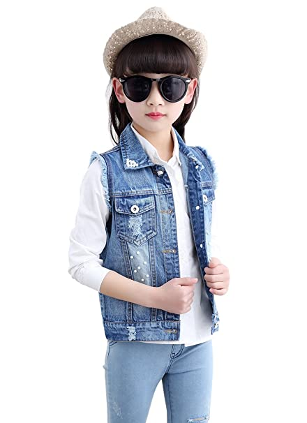Amazon Com Loktarc Kids Girls Sleeveless Denim Jacket Jean Vest