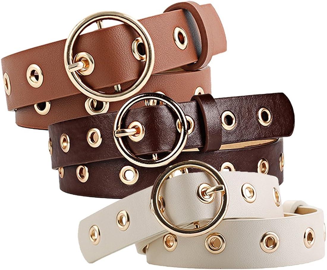uxcell Women Grommet Holes Studded Leather Belt 28mm Width 1 1/8 Beige+Rust+Brown