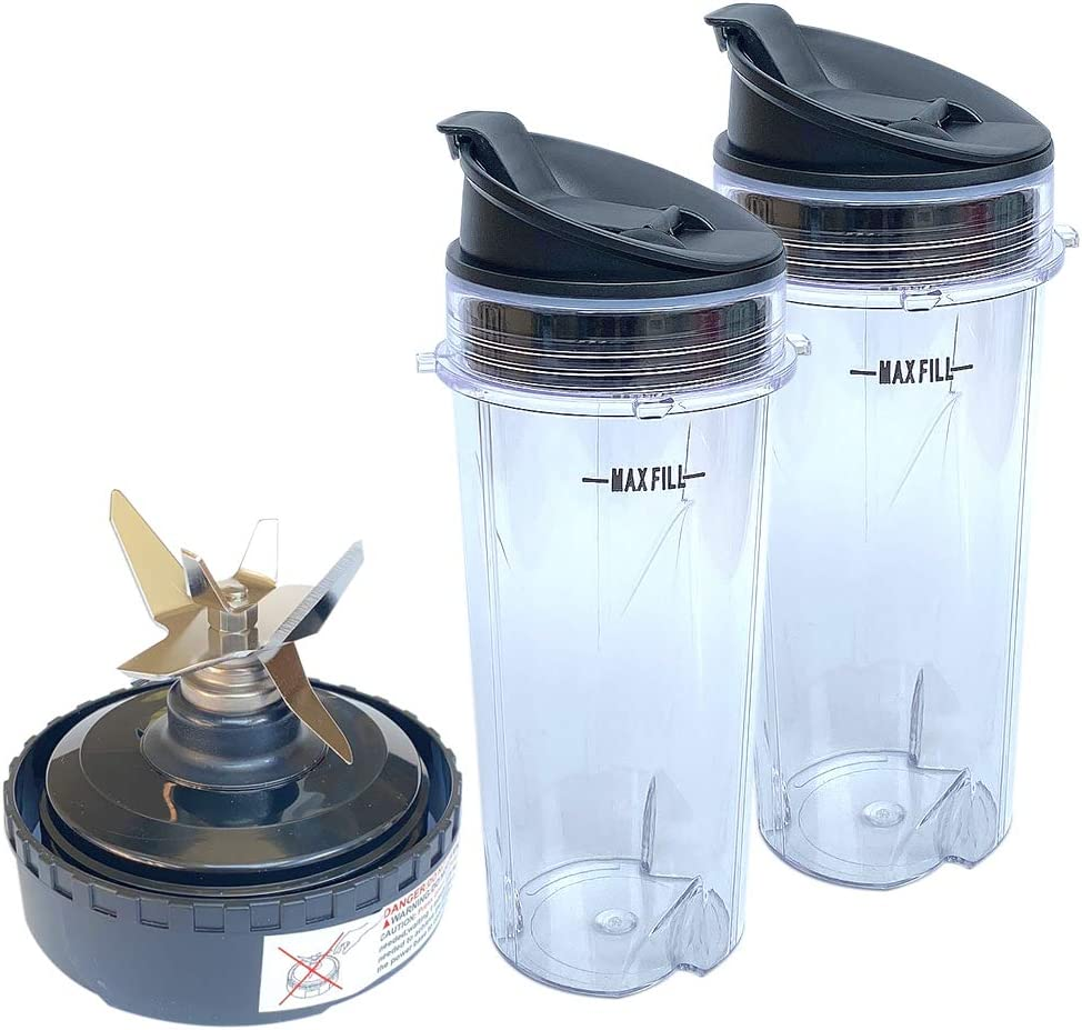 Veterger Replacement Parts 5 Fins Blade with 2 16oz cups, Compatible with Ninja Blender QB3000/QB3000SSW/QB3004/QB3005