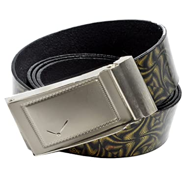 51e76648c Faynci Super Collection of Multicolor Synthetic Leather Classic Design Belt  with Auto Lock Buckle (SILVER)  Amazon.in  Clothing   Accessories