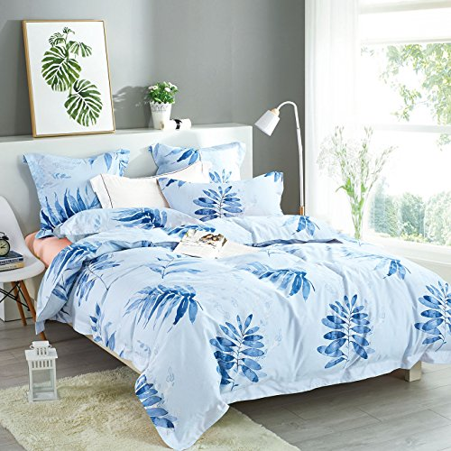 Blue Duvet Cover Set, 100% Cotton Bedding, Watercolor Tree Leaves Pattern Printed, with Zipper Closure (3pcs, Queen (Autumn Leaves Pattern)