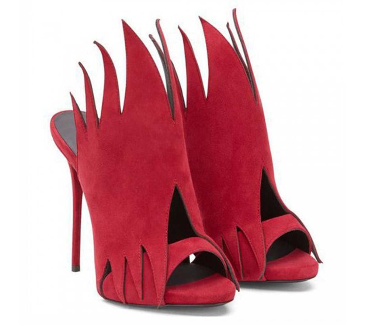 GONGFF Zapatillas Sandalias De Tacón Alto Para Mujer Zapatillas Muller Zapatos De Moda Zapatos,Red,40 40|Red