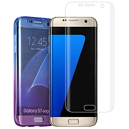 best service 7bb5c 5bece Galaxy S7 Edge Case,AMASELL Full-Body Case Scratch-Resistant Crystal Soft  TPU Silicone Rubber Protective Cover With Screen Protector For Samsung ...