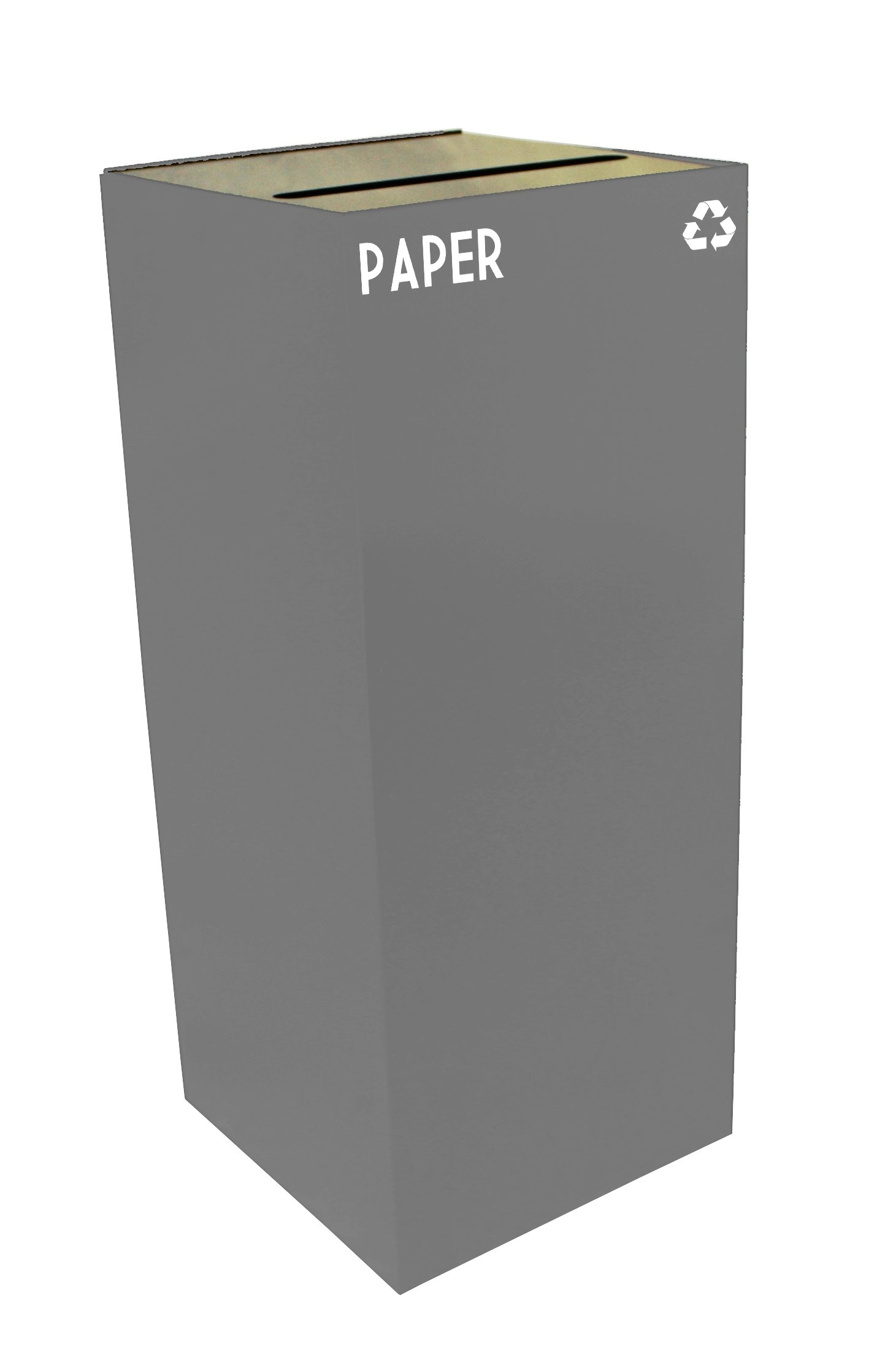Witt Industries 36GC02-SL GeoCube Recycling Receptacle with Slot Opening, Steel, 36 gal, Slate