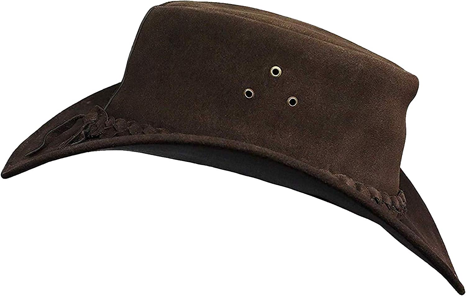 BRANDSLOCK Cowboy hat for Men and Women Suede Leather Western Outback Outdoor Aussie Bush hat with Chin Strap