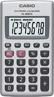 Calculadora de Bolso Vertical, Visor 8 Dígitos, Casio, HL-820VA, Prata
