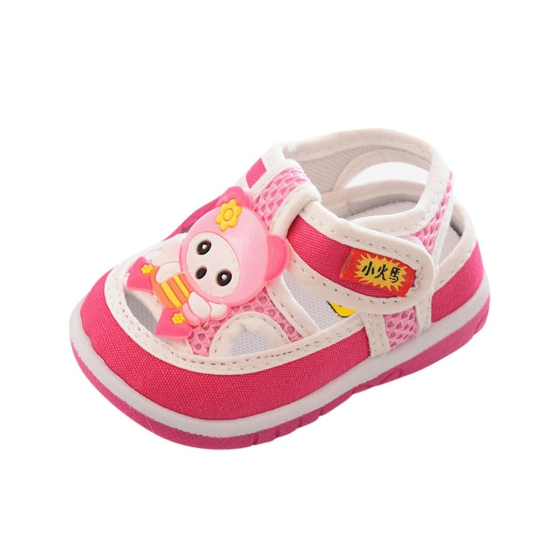 Hot Sale!Summer Sandals 2018,Todaies Boys Girls Cartoon Anti-slip Shoes Baby Soft Sole Squeaky Mesh Sneakers (US:5, Pink)
